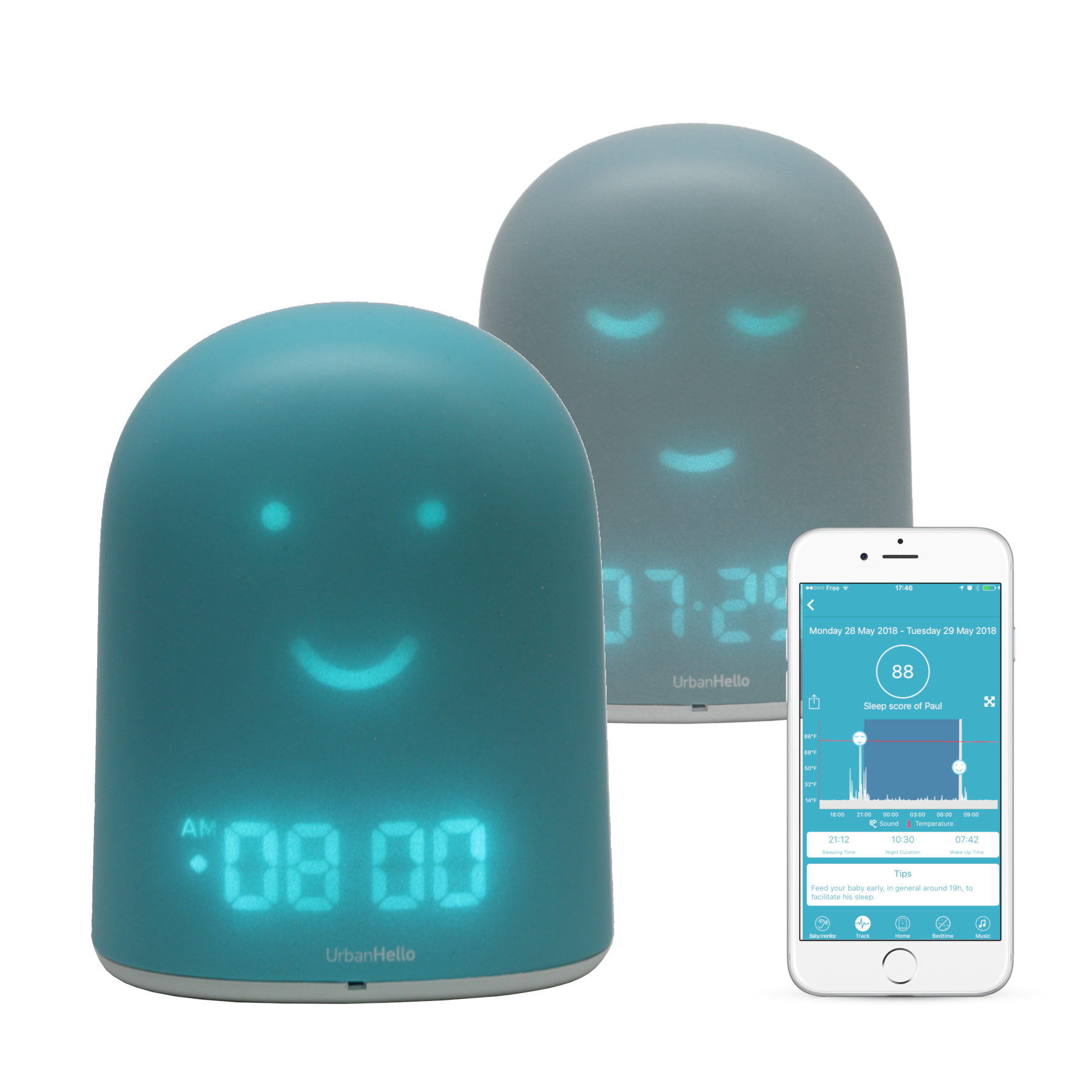 REMI Bleu - Le Meilleur Réveil Enfant Jour Nuit éducatif pour apprendre à dormir plus - Suivi du sommeil - Babyphone - Veilleuse - Enceinte musique