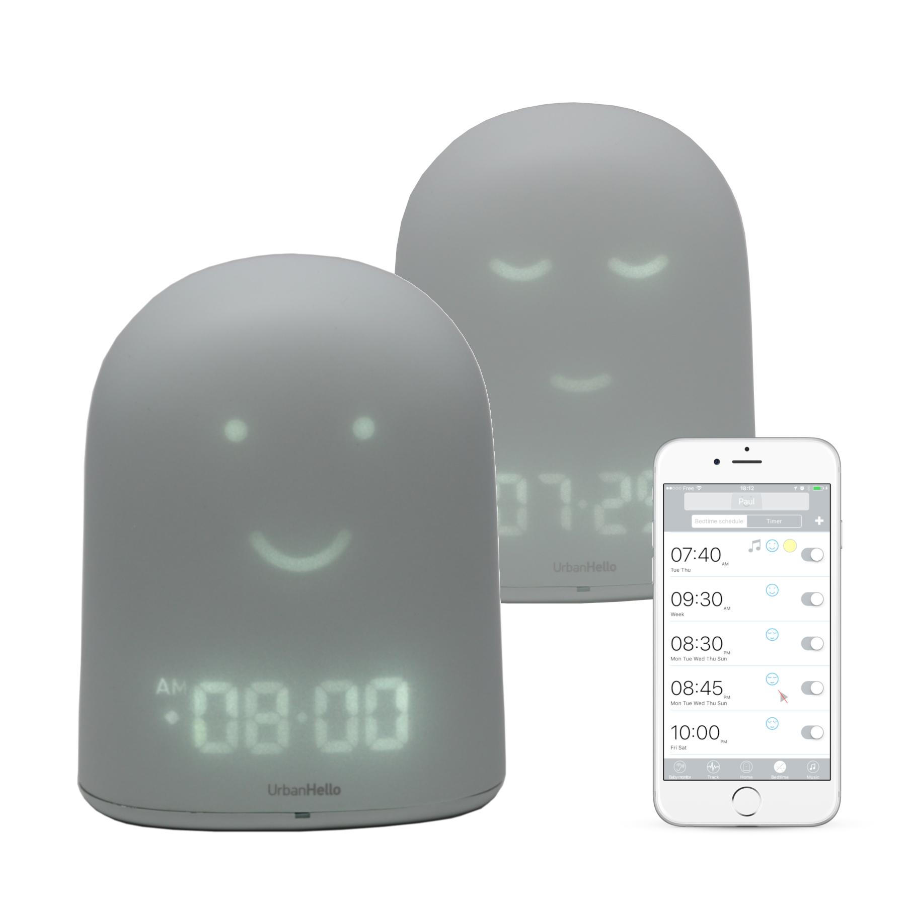 REMI Gris - Le Meilleur Réveil Enfant Jour Nuit éducatif pour apprendre à dormir plus - Suivi du sommeil - Babyphone - Veilleuse - Enceinte musique