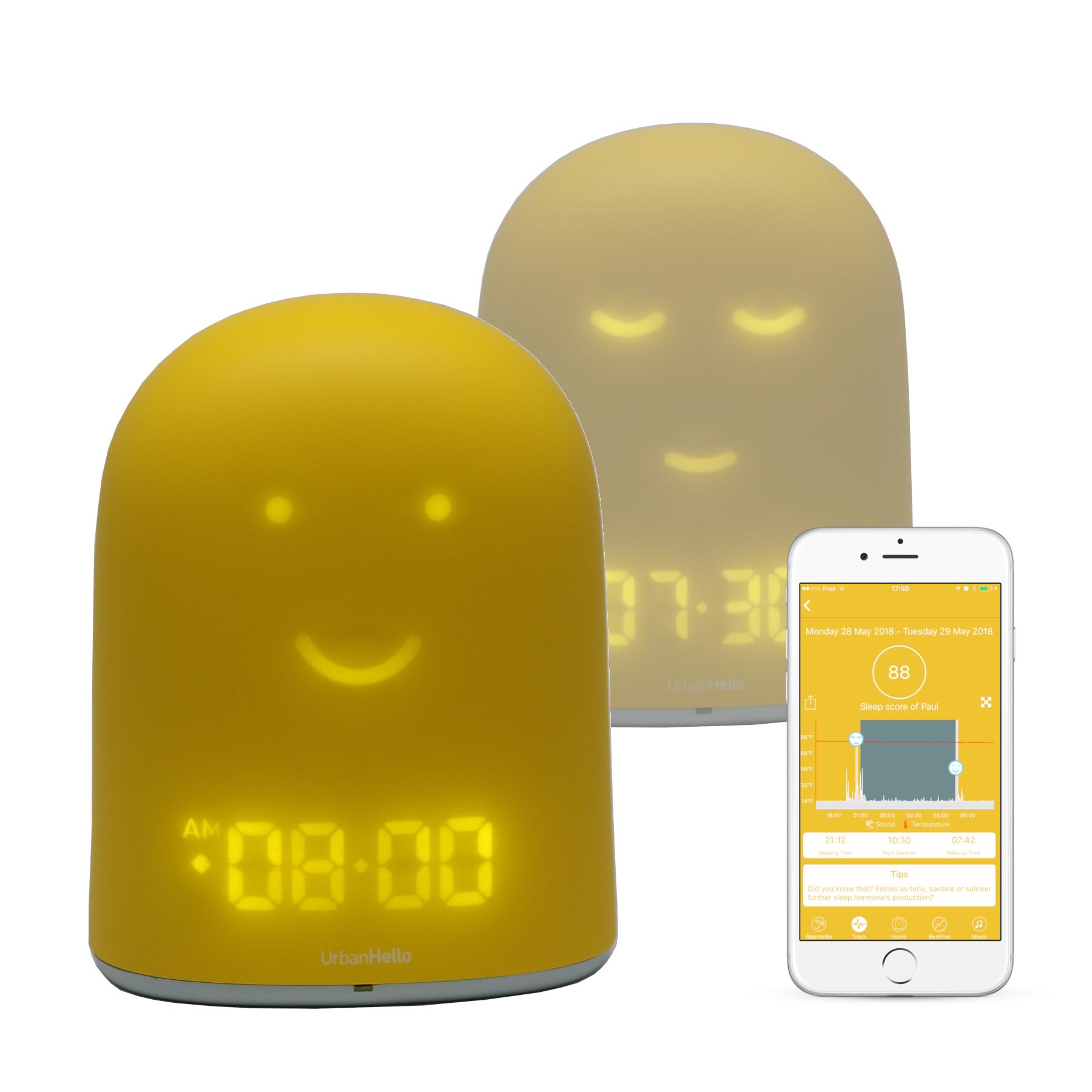 REMI Jaune - Le Meilleur Réveil Enfant Jour Nuit éducatif pour apprendre à dormir plus - Suivi du sommeil - Babyphone - Veilleuse - Enceinte musique
